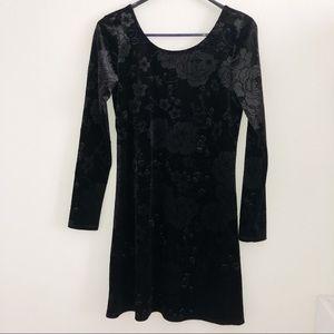 One Clothing Black Floral Velvet Bodycon Dress S